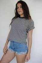 Vintage 90s Cropped Black and White Striped Tee