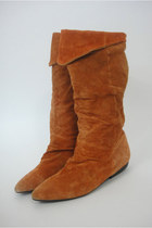 Vintage Tall Orange Suede Boots Size 7
