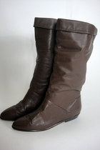 Vintage 80s Tall Brown Leather Boots Size 7.5