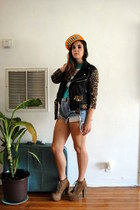 black UNIF jacket - teal new era hat - blue Total Recall Vintage shorts