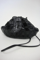 Vintage  Black Leather Patchwork Pouch Purse