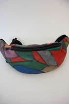 Vintage Colorful Leather Patchwork Fanny Pack