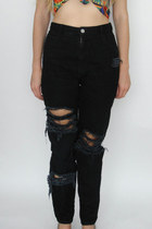 Vintage 90s Black Shredded High-Waisted Skinny Jeans -- Size 28