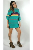 Vintage 90s Oversized Gant Teal Striped Sweater