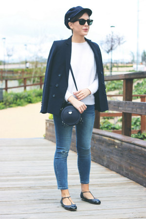 navy Carven bag - sky blue The Kooples jeans - white The Kooples sweater
