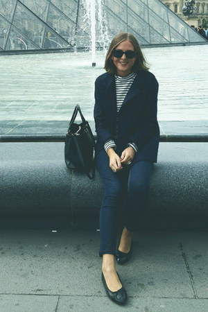 Topshop jeans - SANDRO blazer - Prada bag - ray-ban sunglasses - Chanel flats