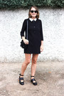 Black-sandro-dress-black-reed-krakoff-bag-black-ray-ban-sunglasses