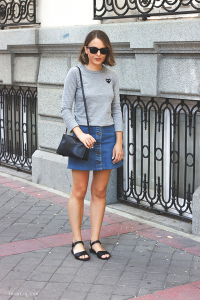 silver Comme des Garcons t-shirt - navy Celine bag - black ray-ban sunglasses