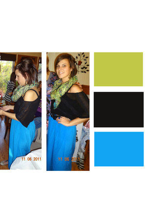 blue silk skirt - chartreuse scarf - black blouse - dark khaki flats