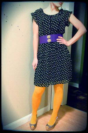 black willowclay dress - gold Gap tights - purple yellowcake belt