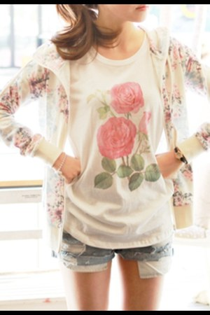simple rose top - floral print hoodie