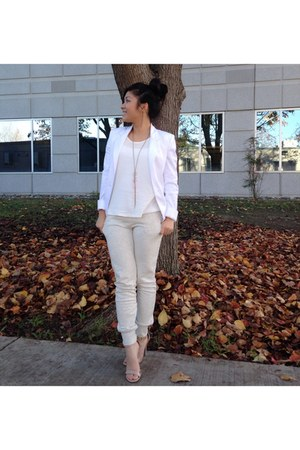 off white white blazer cotton on blazer - ivory textured top Forever 21 top
