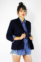 vintage 80s preppy NAVY SHRUNKEN TINY FIT crop BOYFRIEND blazer jacket S