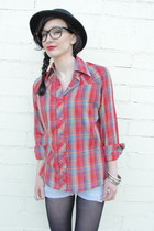 black bowler vintage hat - red Trashy Vintage shirt - black opaque tights - ligh