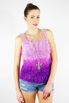 vintage 90s grunge club kid rave PURPLE MONSTER FURRY FUZZY sweater tank top S