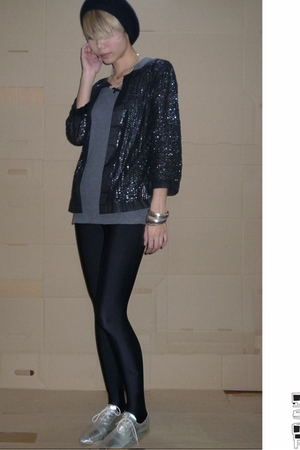 hnm accessories - Zara blazer - American Apparel leggings - vintage shoes