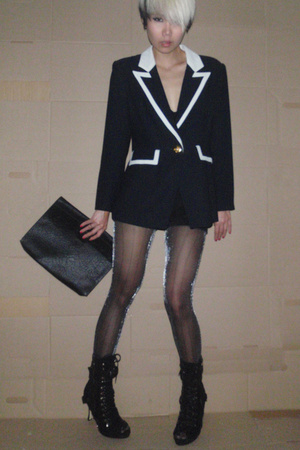 vintage blazer - tights - Ebay shoes - trifted purse