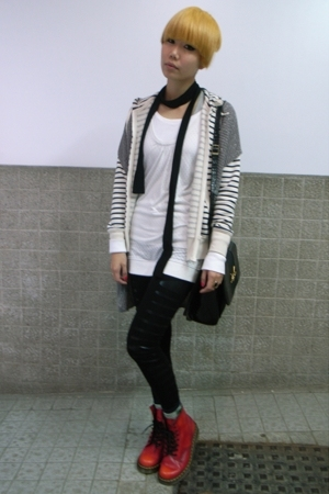 Zara vest - Mango blouse - Uniqlo sweater - leggings - doc martens shoes