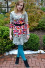 Hot-pink-target-dress-turquoise-blue-hue-tights-black-steve-madden-wedges