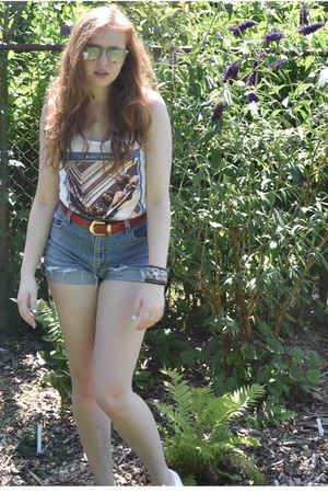 white H&M shirt - blue Thrifted Levi shorts - ruby red thrifted belt