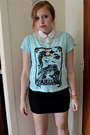 Black-forever-21-skirt-aquamarine-h-m-shirt-white-cotton-on-top