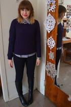 navy Tahari pants - black Kelly and Katie boots - blue Forever 21 sweater