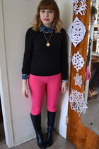 black Kelly and Katie boots - black H&M sweater - hot pink MINE pants