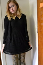 gold tights - black DMBM dress - black pierre august cardigan