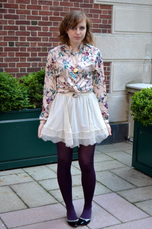 ivory H&M skirt - black CLabel shoes - deep purple Chinese Laundry tights