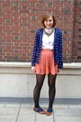 Salmon-forever-21-skirt-navy-kenari-blazer-brown-vintage-coach-bag