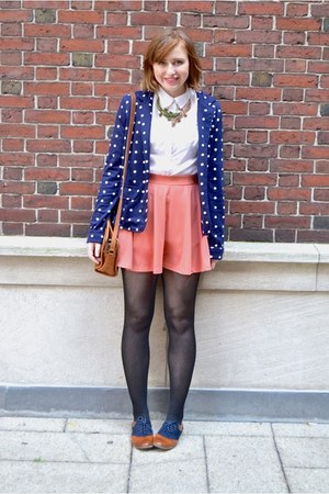 salmon Forever 21 skirt - navy kenari blazer - brown vintage Coach bag