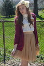 Gold-forever-21-skirt-maroon-aero-cardigan-white-nick-and-mo-blouse