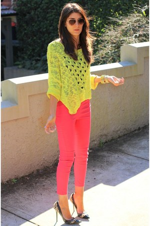 hot pink layla pants - lime green cabana jumper