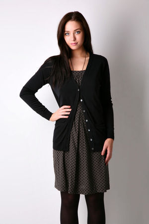 black Zara cardigan - gray dress - black Wet Seal tights