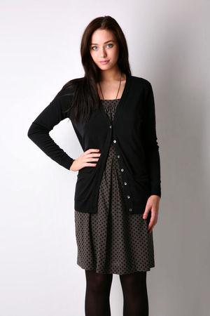 black Zara cardigan - gray dress - black Wet Seal tights