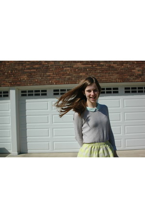 light yellow JCrew skirt - heather gray JCrew sweater - light blue Zara shirt