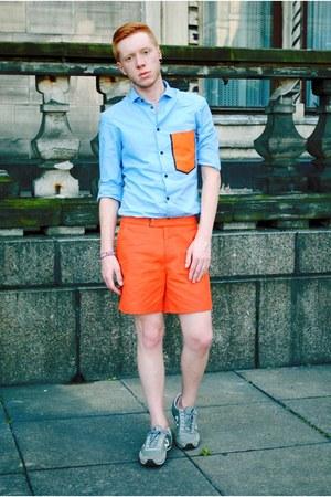 light blue H&M shirt - carrot orange H&M shorts