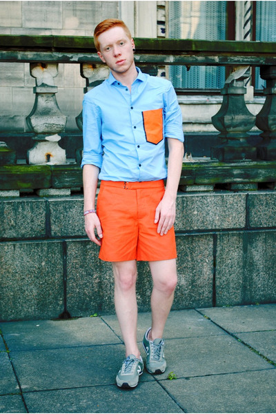 light blue H&M shirt - carrot orange H&M shorts