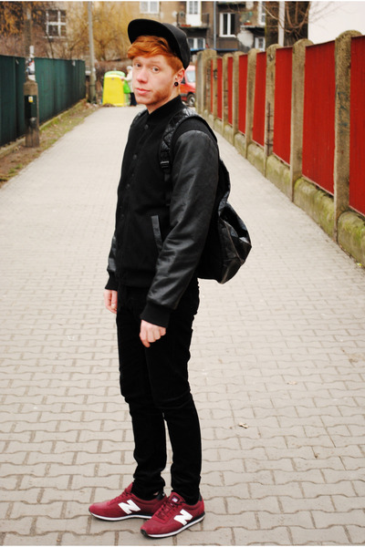 black H&M hat - black H&M jacket - black asos black x puma bag - black H&M pants