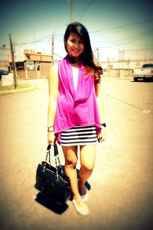 magenta random brand blouse - black H&M skirt - white crochet random brand flats