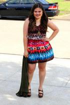 dark brown Via Spiga shoes - Forever 21 dress - green Jessica Simpson cardigan -