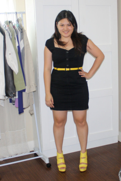 black dkny dresses yellow bakers shoes