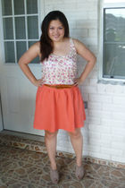 pink Charlotte Russe blouse - brown Forever 21 belt - orange Larry Levine skirt