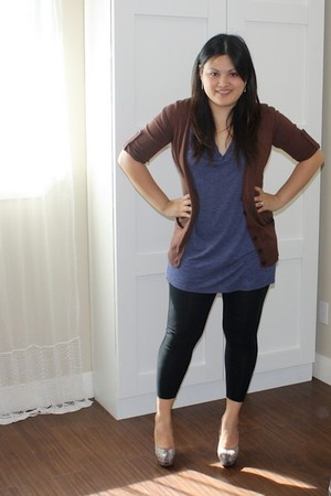 brown Charlotte Russe cardigan - gray joey shoes - blue Forever 21 shirt