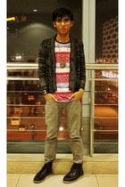 5cm boots - Fendi bracelet - from Bacolod necklace - Crazy Eddies t-shirt - huma
