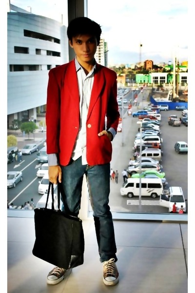 red suit - blue Zara top - blue FNH jeans - black Givenchy accessories - red Con