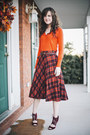 Carrot-orange-v-neck-target-sweater-plaid-vintage-skirt