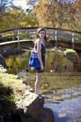 Black-polka-dot-delias-dress-blue-great-gatsby-out-of-print-clothing-bag