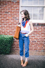 Blue-mom-topshop-jeans-red-vintage-scarf-tawny-tote-madewell-bag