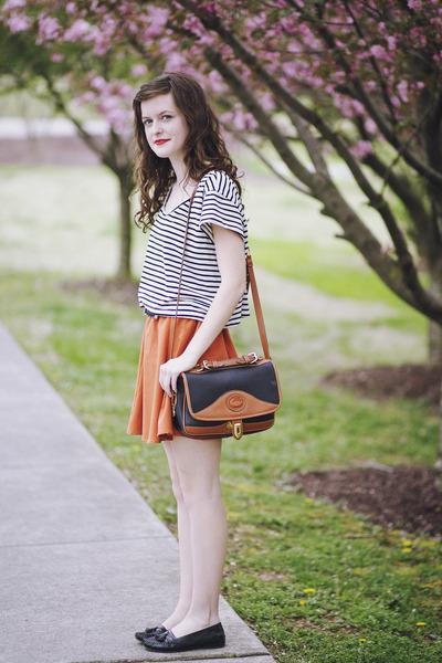 black vintage Dooney & Bourke bag - burnt orange circle Ya Apparel skirt